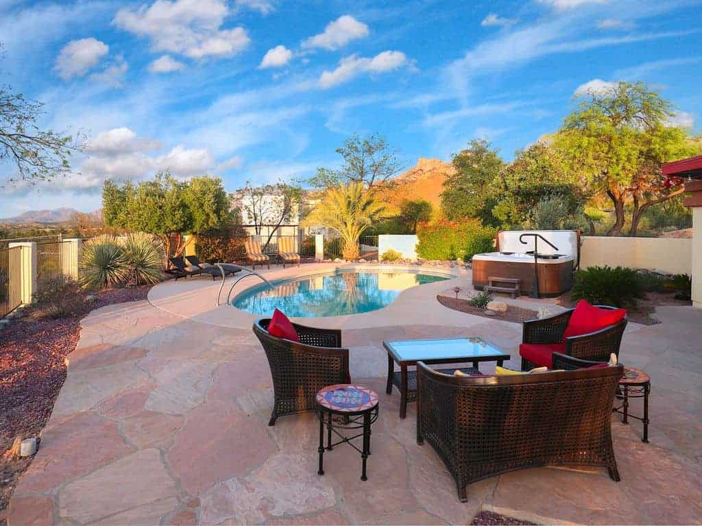 Atua Place relax zone overlooking pool and Catalina Mountains