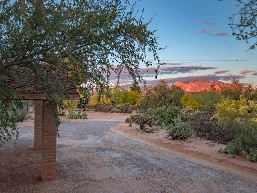 hopdown Catalina Mountains in front of house