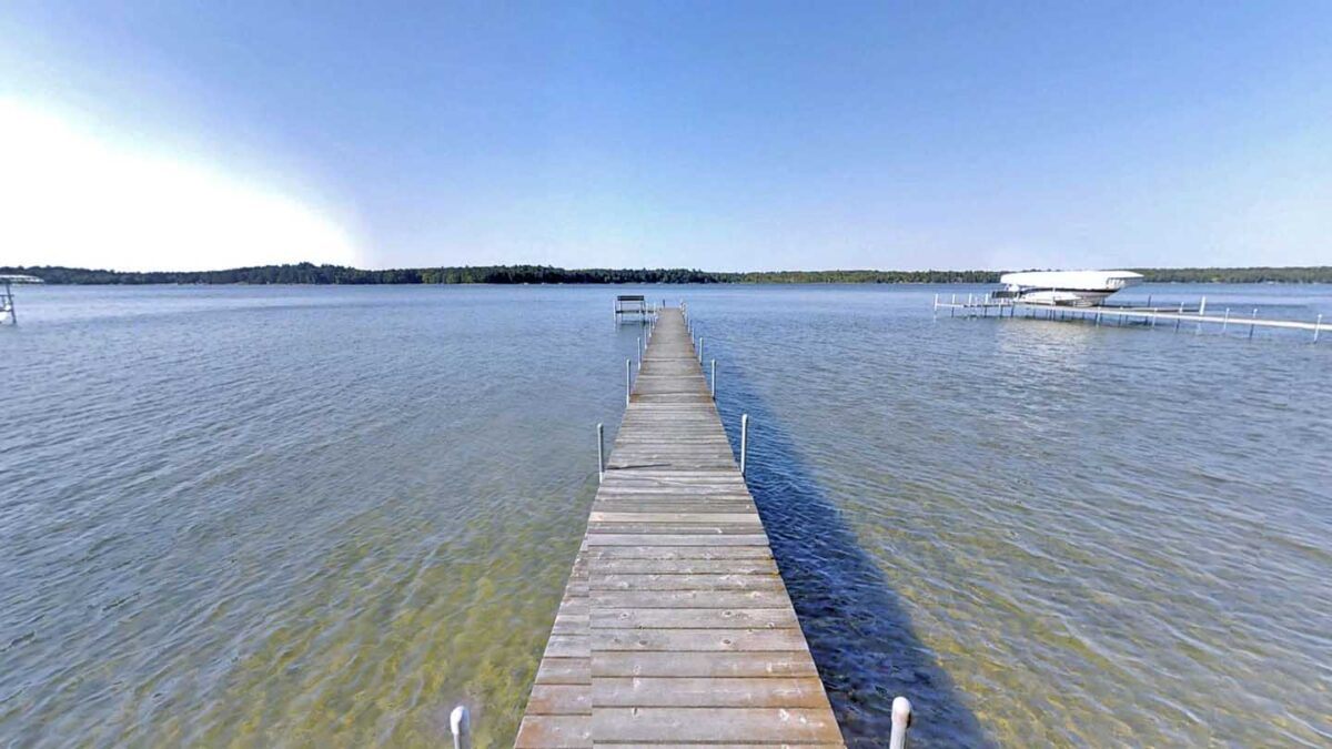 big trout lake mn cabin rental - view of dock and lake