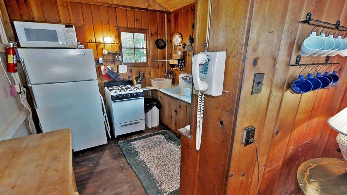 big trout lake rustic cabin kitchen-oldphone