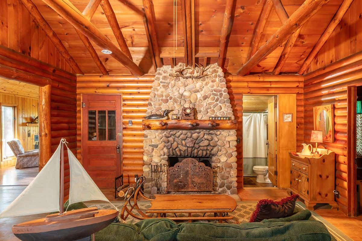 Big Trout Lake Rustic Cabin Great Room fireplace
